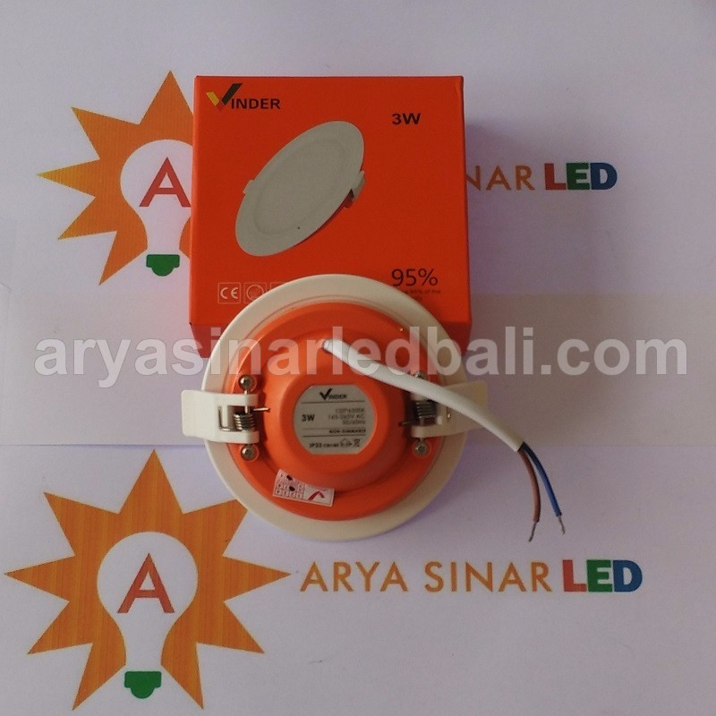 LED - Vinder Panel Downlight Bulat - 3 Watt