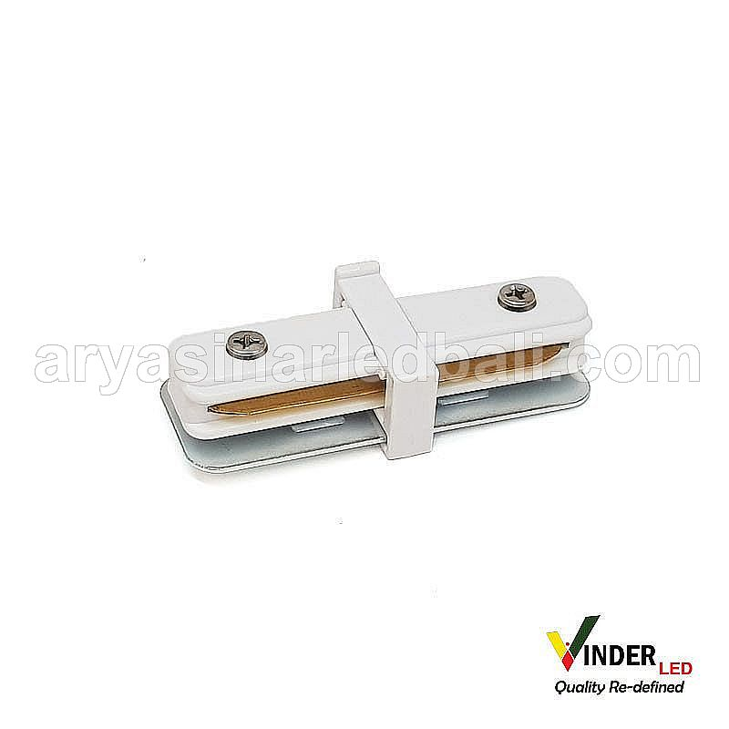 Connector Lurus Track Rail warna putih
