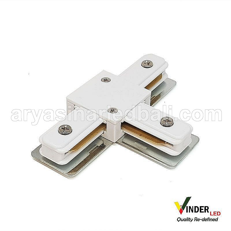 Connector Cabang Tiga T Track Rail warna putih